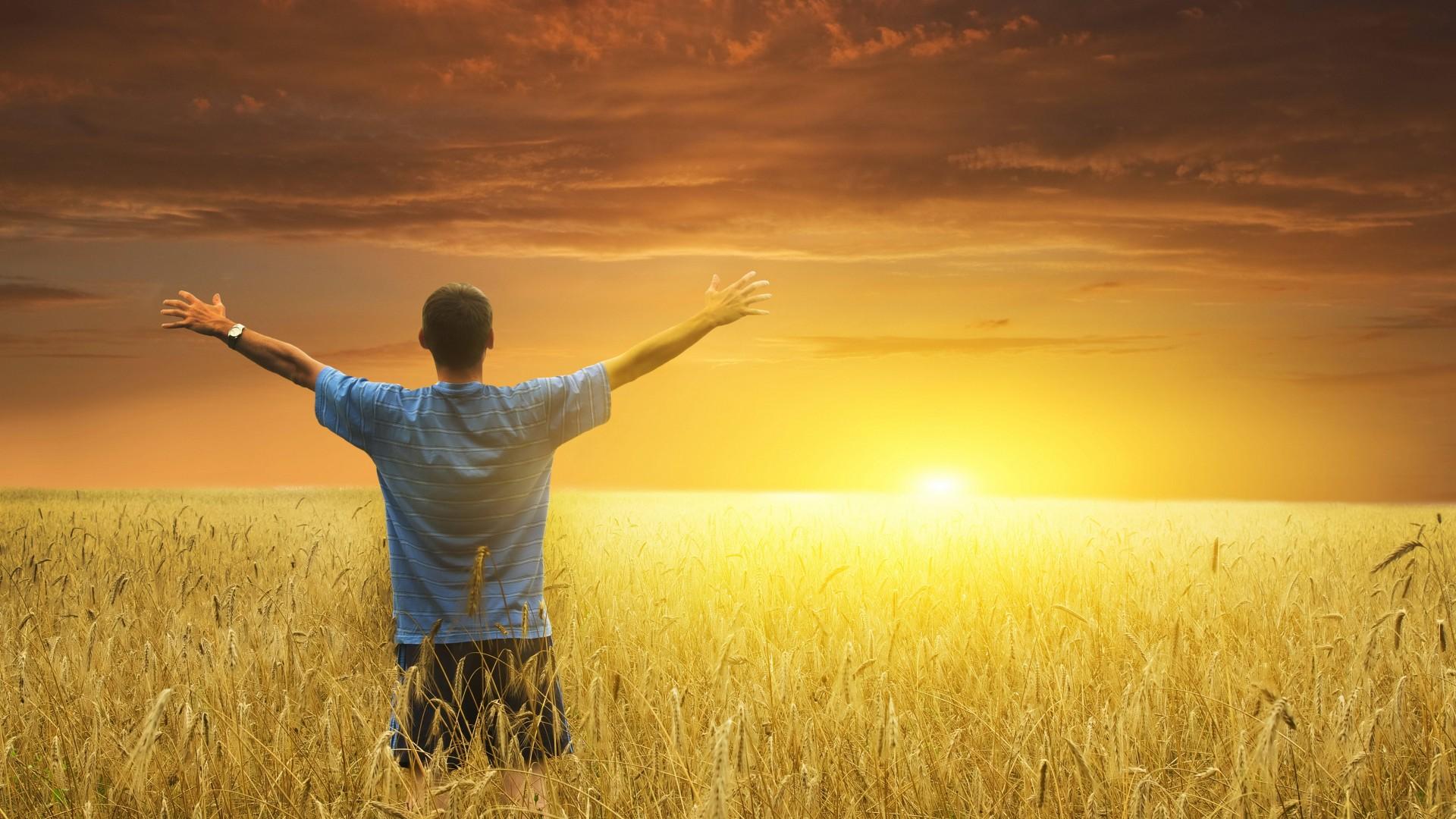 men_males_mood_sunset_sunrise_landscapes_fields_grass_wheat_sky_1920x1080